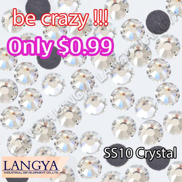 1440pcs SS10 Clear Crystal DMC HotFix FlatBack Strass Rhinestones Hot Fix Crystal Stones(Hong Kong)