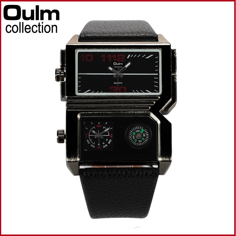 Oulm 3561 Men Military Sport Watch 2015 New Design Dual MOvement Outdoor Army Wristwatch Compass Display Colorful Analog Relojes(China (Mainland))