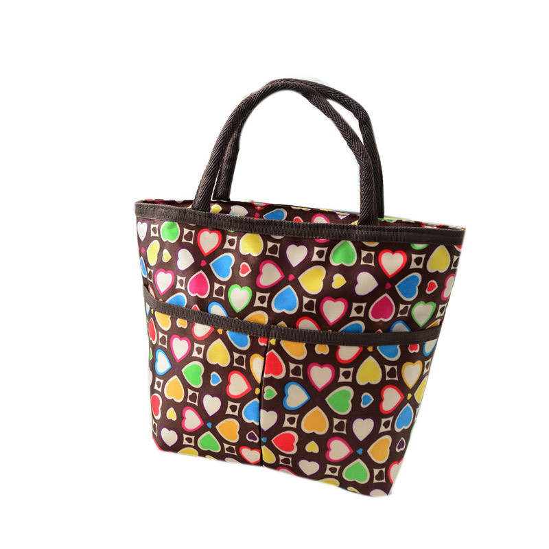 Prevalent Waterproof Colorful Heart Lunch Bags Carry Tote Lunch Packet Food Storage Lunchbox Free Shipping Mar16(China (Mainland))