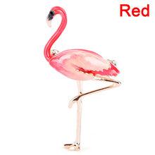 Paduan Merah Biru Enamel Burung Flamingo Bros Wanita Pria Logam Hewan Bros Pin Perjamuan Brocade Hadiah Syal Gesper(China)
