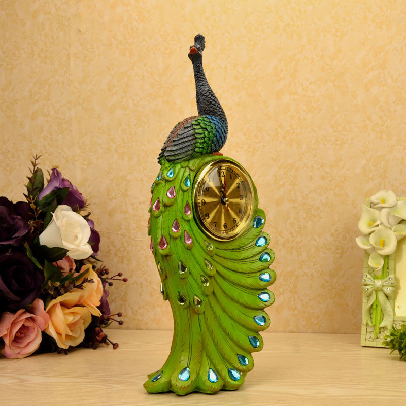 Painted Couple Peacock Wedding Gifts Unique Delicate Home: Peacock Fashion Clock, Unique Delicate Home Decor Resin