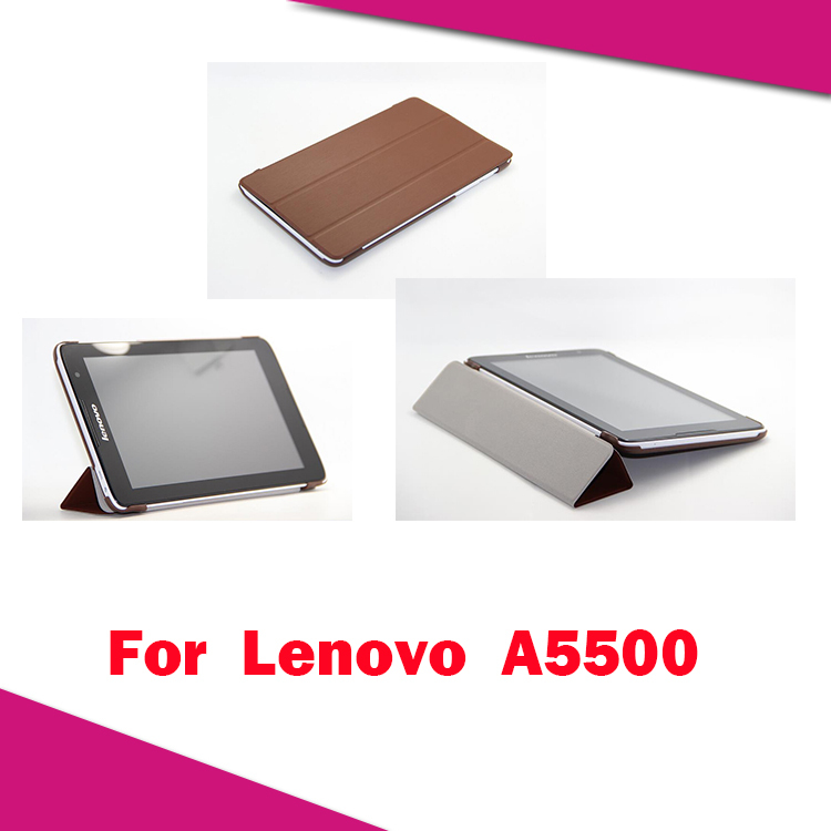 """High quality Buiness Ultrathin Smart Cover for Lenovo 8.0 A5500 3 Foldable Stand Leather Case for Lenovo A5500 8"""" Tablet PC(China (Mainland))"""