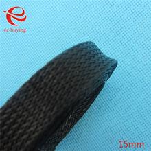 5 M 15mm Revestimiento de Cables Auto Cable de Nylon Trenzado Cable Harnessing Manguitos Negro Eléctrico Marinos