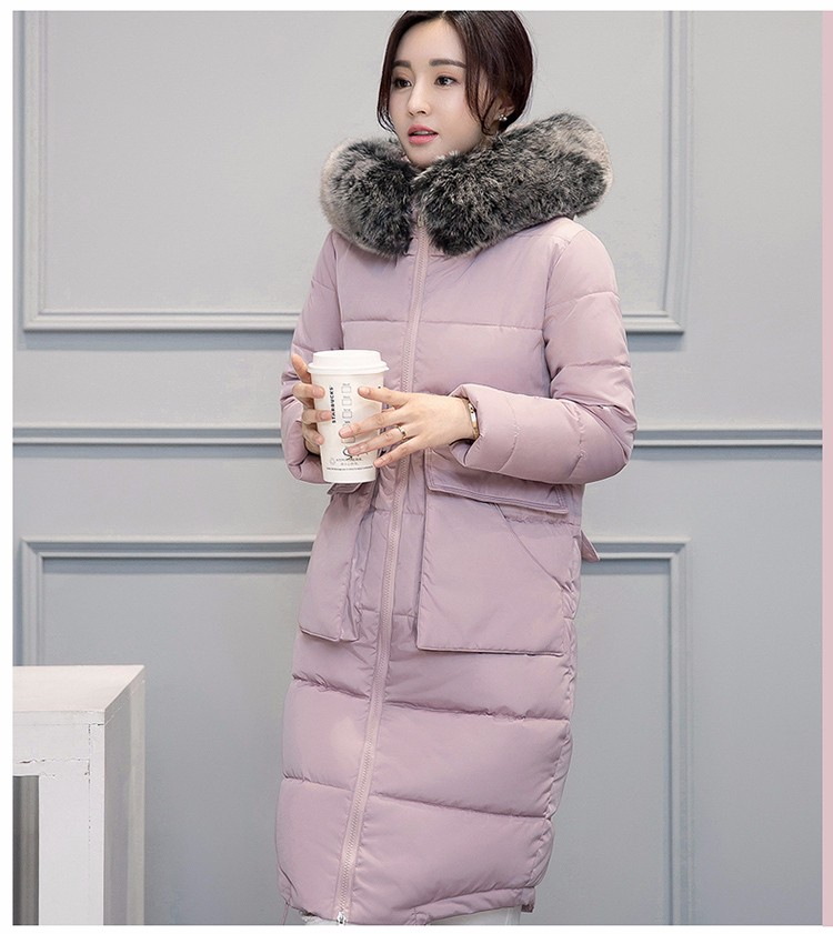 Overknee Long Thickening Women Cotton Padded Overcoat Huge Fur Collar Hooded Warm for Female New Parkas With Big Pocket CC014