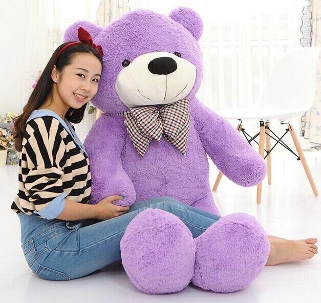 2016 Plush toys 160cm teddy bear empty shell coat bear skins Light Purple with zipper Christmas Valentine's Day, birthday Gifts(China (Mainland))