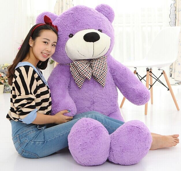 2016 Plush toys 160cm teddy bear empty shell coat bear skins Light Purple with zipper Christmas Valentine's Day, birthday Gifts(China (Mainland))