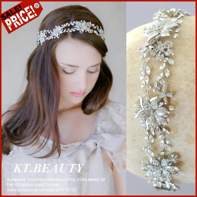Vintage Fashion Silver Planted Rhinestone Crystal Pearl Headband Bridal Hairpiece Wedding Hair Accessories Vine(China (Mainland))