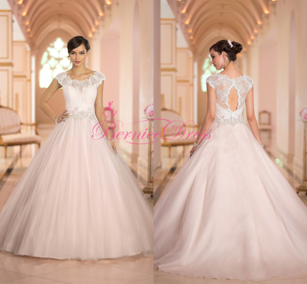 Ball gown wedding dresses 2014 court train scoop lace for Baby pink wedding dress