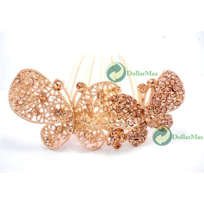 DollarMax Great deal Charm Fashion Girl Rhinestone Butterfly Pattern Headdress Flower Hair Clip Comb Fabulous!(China (Mainland))