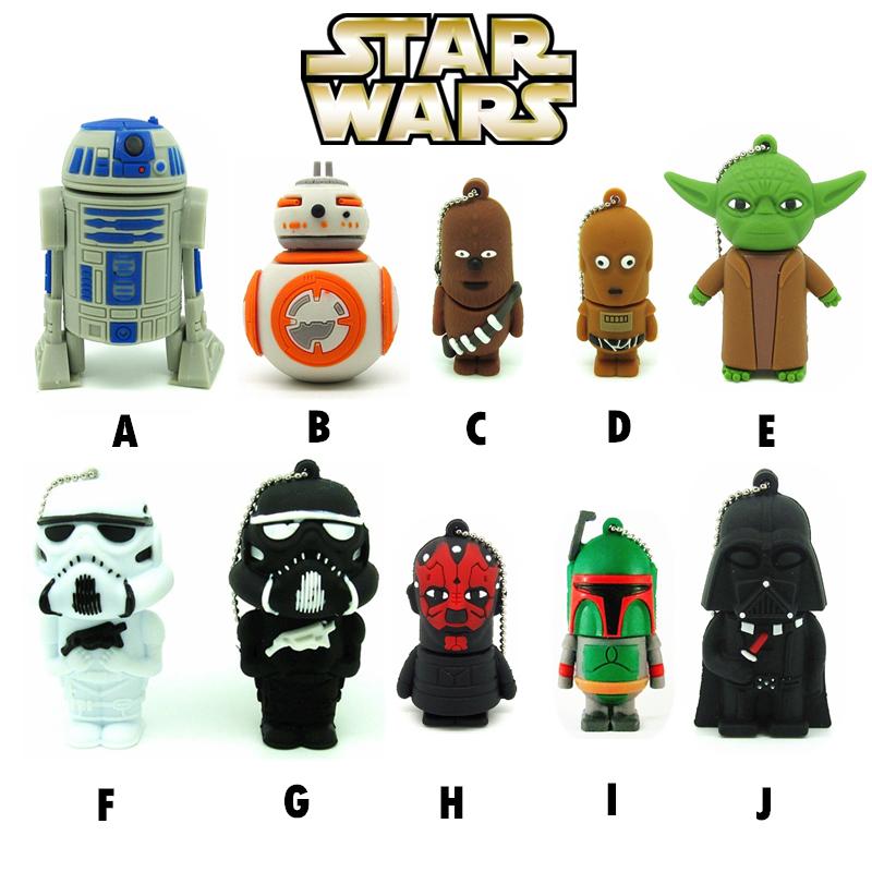 10 styles Star wars Pen drive darth vader usb flash drive BB8 robot flash memory stick R2D2 pendrive 4GB/8GB/16GB/32GB Yoda(China (Mainland))