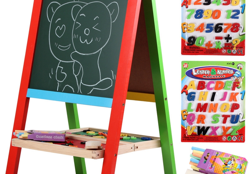Free installation of the new folding wooden blackboard drawing board sided magnetic easel Children 36 years old<br><br>Aliexpress