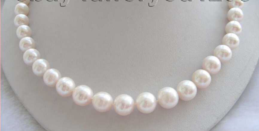 Free shippingGenuine Natural 11mm White Round Pearl Necklace Zircon!<br><br>Aliexpress
