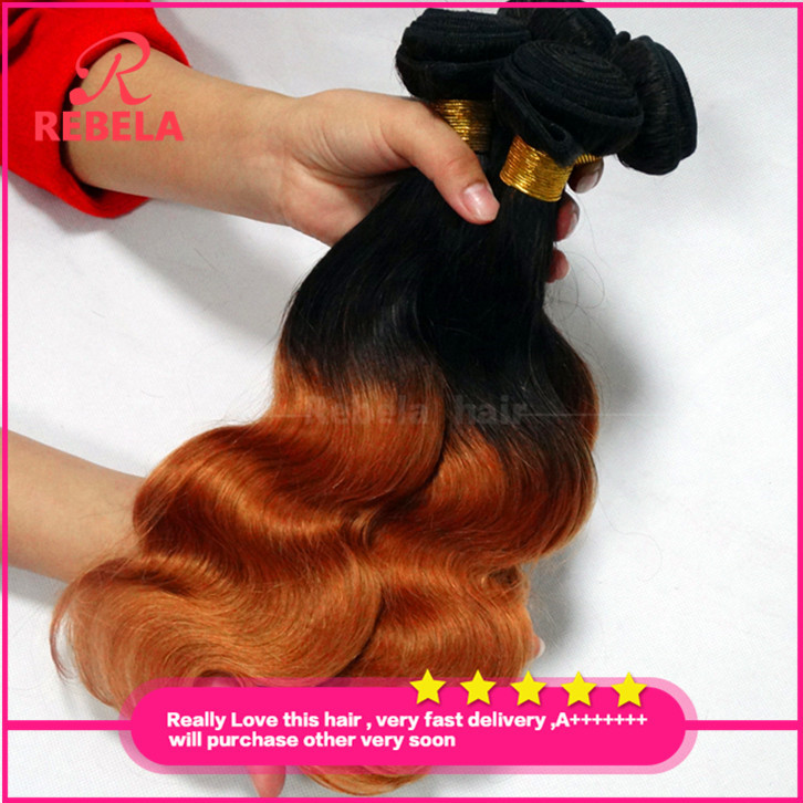 Ombre Hair Extensions Brazilian Virgin Body Wave Two Tone Human Weave Tangle - Rebela hair products Co.,Ltd store