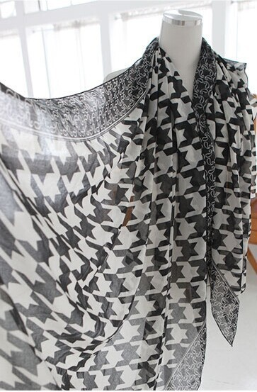 Новое поступление мода милые женщины женщина долго печать птицы сетки хаундстут вуаль шарф платок упаковка весна осень зима