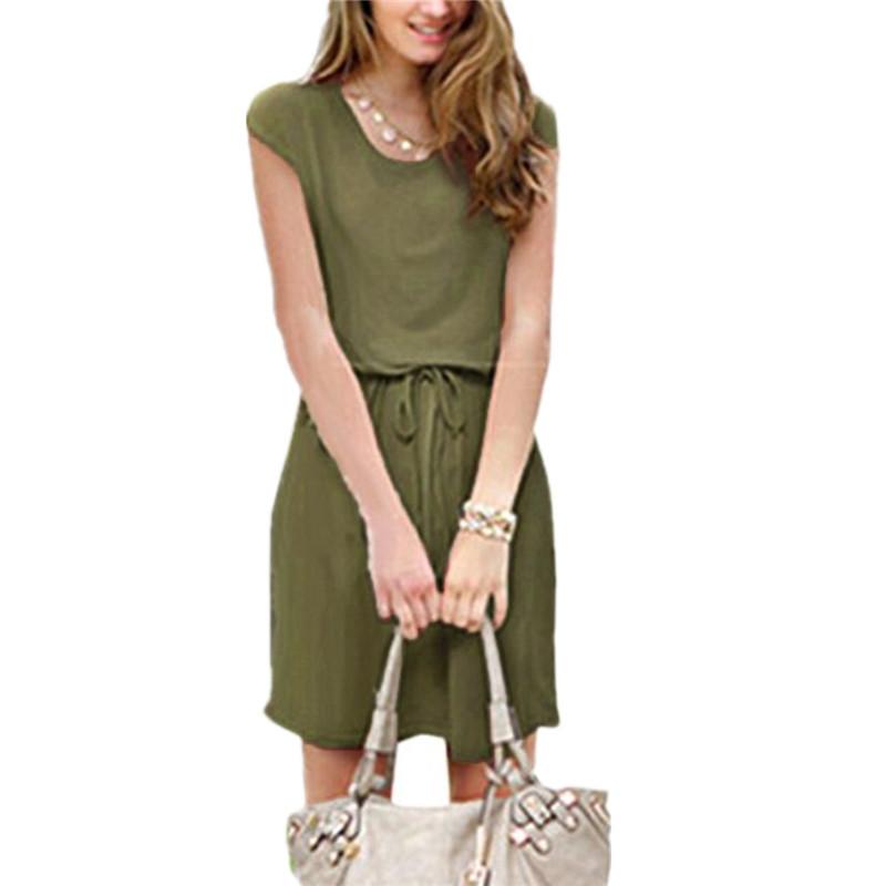 3 Colors Fashion Vestidos 2016 Casual Short Sleeve Drawstring Waist Women Mini Dress Plus Size Ladies Slim Summer Dresses Robe(China (Mainland))
