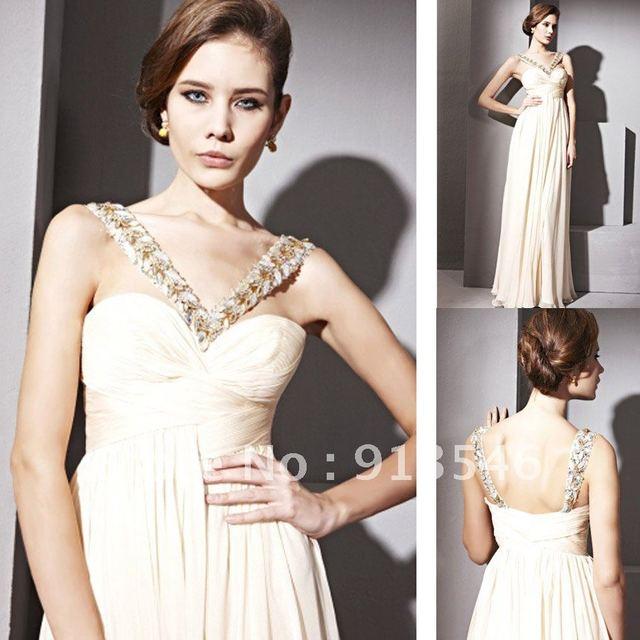 2012 New Arriva Design EG-295 V Neck Chiffon Ruched Beaded Prom Dress
