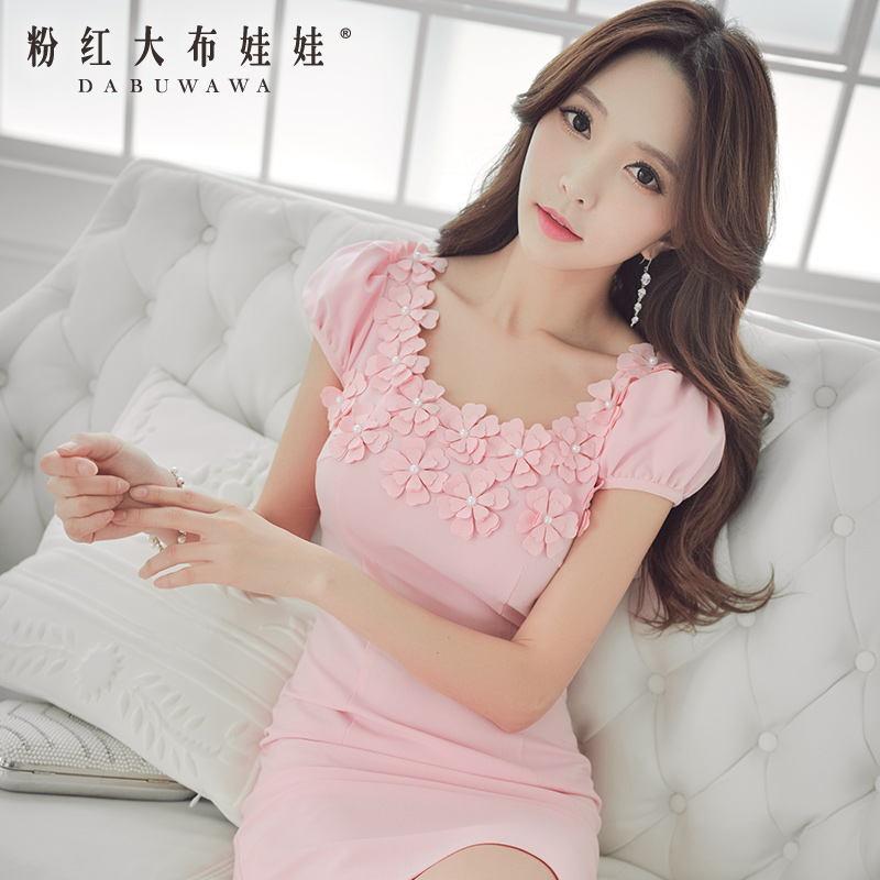 Pink Doll Dress spring new spring and summer 2015 women slim Hubble bubble sleeve dress
