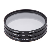 Andoer 67mm Filter Set UV + CPL + Stern 8-Point Filter Kit mit Fall für Canon Nikon Sony DSLR Kamera Objektiv(China (Mainland))