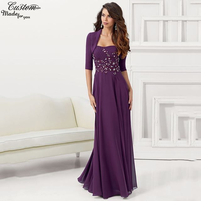 Purple Wedding Dresses And Suits : Gorgeous chiffon plus size purple mother of the bride pant