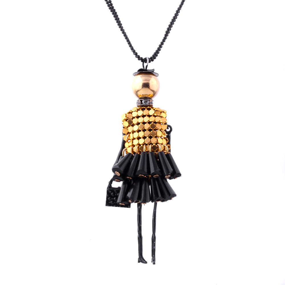 2016 Hot 5 Colors Fine Jewelry Fashion Doll Beads Charms Body Chain Choker Long Necklace & Pendant Statement Necklace Collares(China (Mainland))