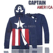 2014 halloween party costume thick autumn winter coat fashion Captain America jacket women & men hoodies XS-XXL(China (Mainland))