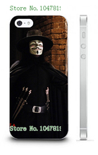Mobile Phone Cases 2016 Vendetta Anonymous Design Plastic White Hard Case For IPHONE 5 5s Free Shipping