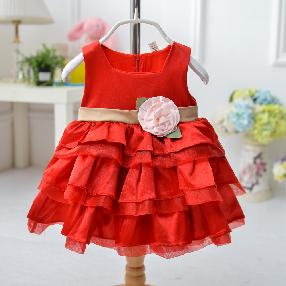 new 2016 girl princess dress high-grade three-dimensional flower girls dresses for party  Red 1 Lots = 6pcs to 1-6 year old<br><br>Aliexpress