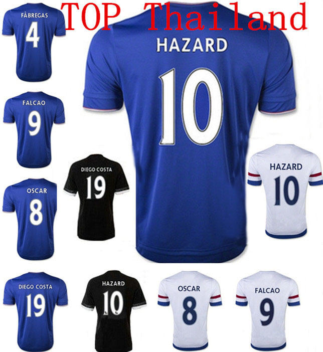 best thai quality 2016 Chelsea Jersey 15 16 Chelsea Camiseta HAZARD FABREGAS DIEGO COSTA Football Shirt FALCAO 2015 Sportswear(China (Mainland))