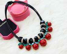 fashion jewelry cute red cherry necklaces & pendants for women rhinestone necklace korea style high quality accessories gift(China (Mainland))