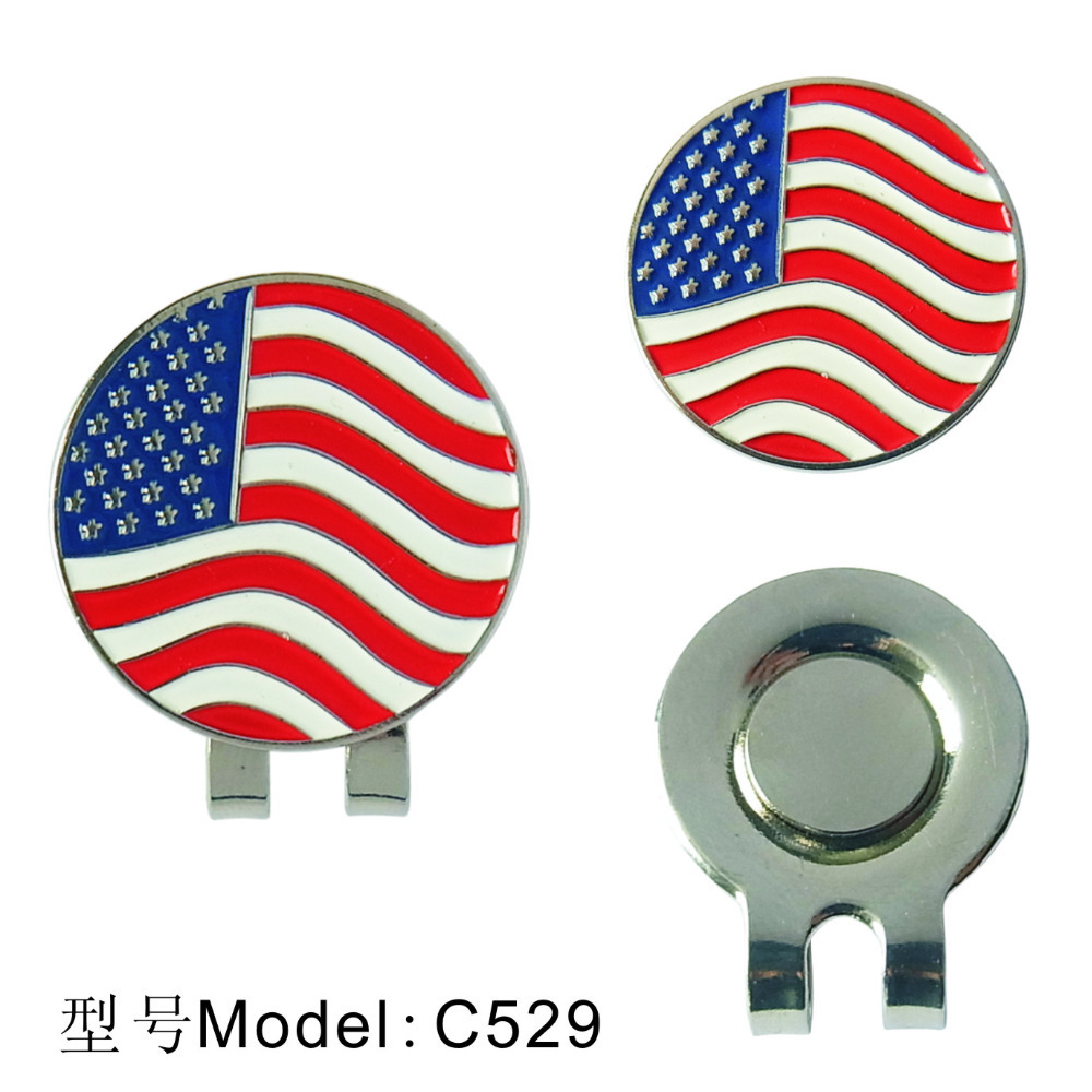 American Flag Golf Ball Marker With Magnetic Hat Clip Clamp New(China (Mainland))