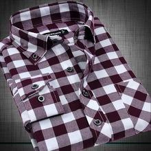VFan Flannel Men Plaid Shirts 2014 New Autumn Luxury Slim Long Sleeve Brand Formal Business Fashion Dress Warm Shirts E1203(China (Mainland))