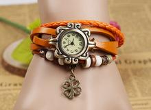 Hot Sales Vintage four-leaf clover pendant Genuine Cow Leather Watch women ladies fashion dress quartz wrist watch kow065(China (Mainland))