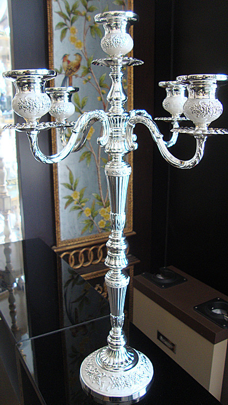 52cm height 5 arms candelabra wedding centerpiece silver plated metal candle holder candelabrum party supply gift 2pcs/lot
