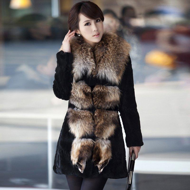2012 Wild Genuine Rabbit Fur Coat with Big Fur CollarОдежда и ак�е��уары<br><br><br>Aliexpress