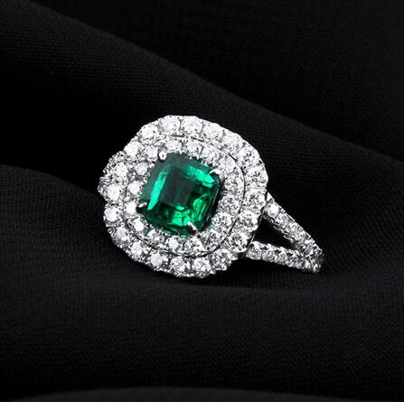 white gold Plated natural CZ diamond surrounded by colored rings emerald ring(China (Mainland))