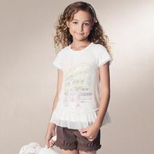 Brand New Annil summer girls clothing gentle women gauze o-neck short-sleeve t-shirt ag421397