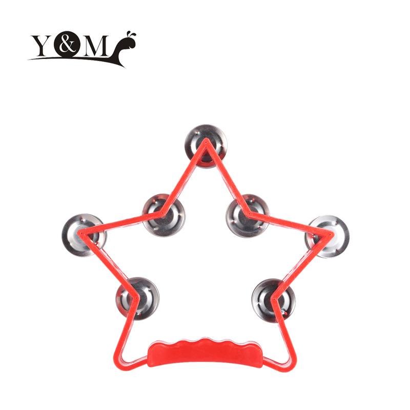 New Star Shape Handheld Tambourine Baby Kids Toys Jingle Bell Plastic Tambourine Percussion Popular Musical Toys(China (Mainland))
