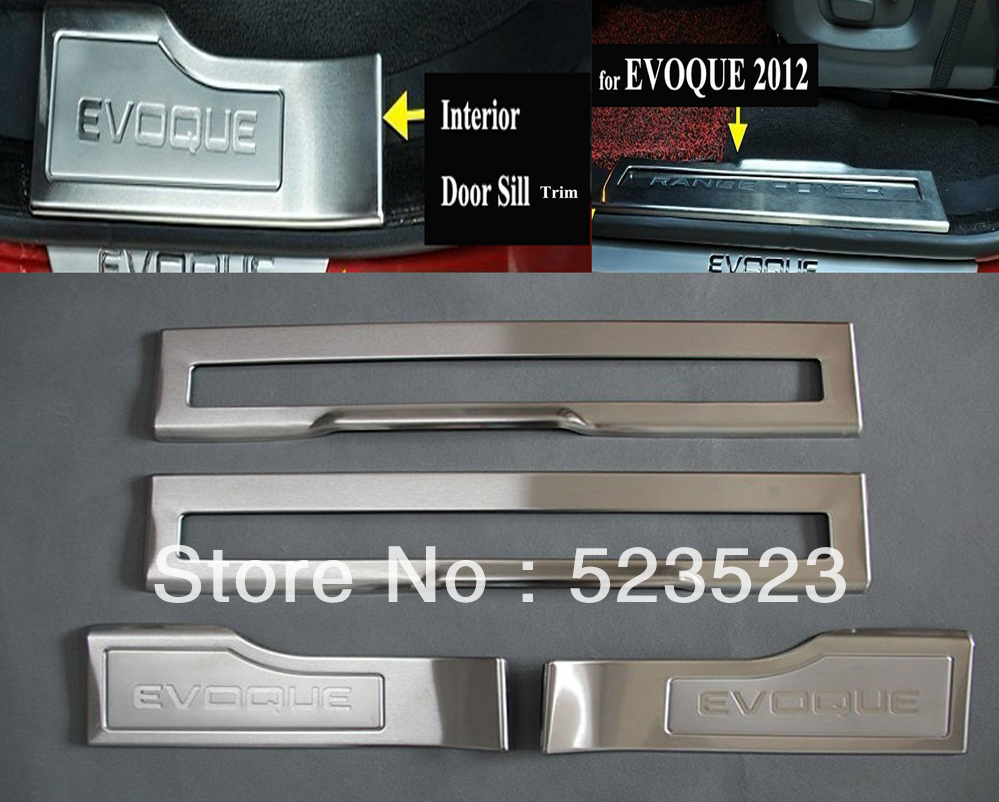 Free Ship for EVOQUE 2012 LAND RANGE Rover Interior Door Sill Scuff Plate Trim Stainless Steel 4pcs(China (Mainland))