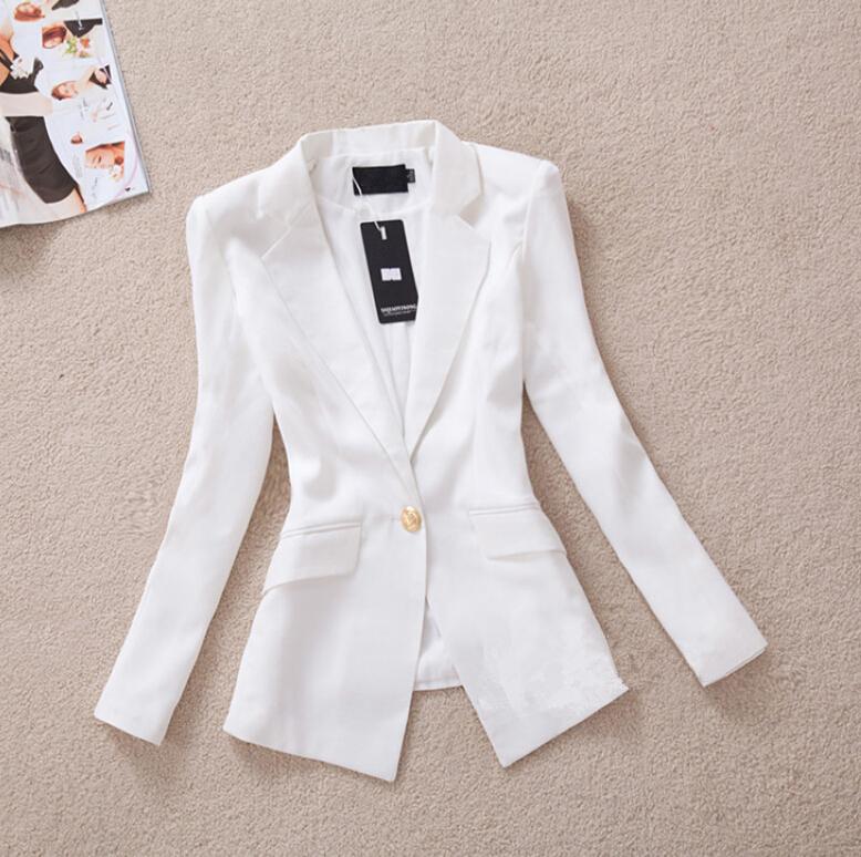2015 blazer women spring autumn Korean Slim gold buckle suit ladies white black OL feminino casual blazers S-XXL - Dream store