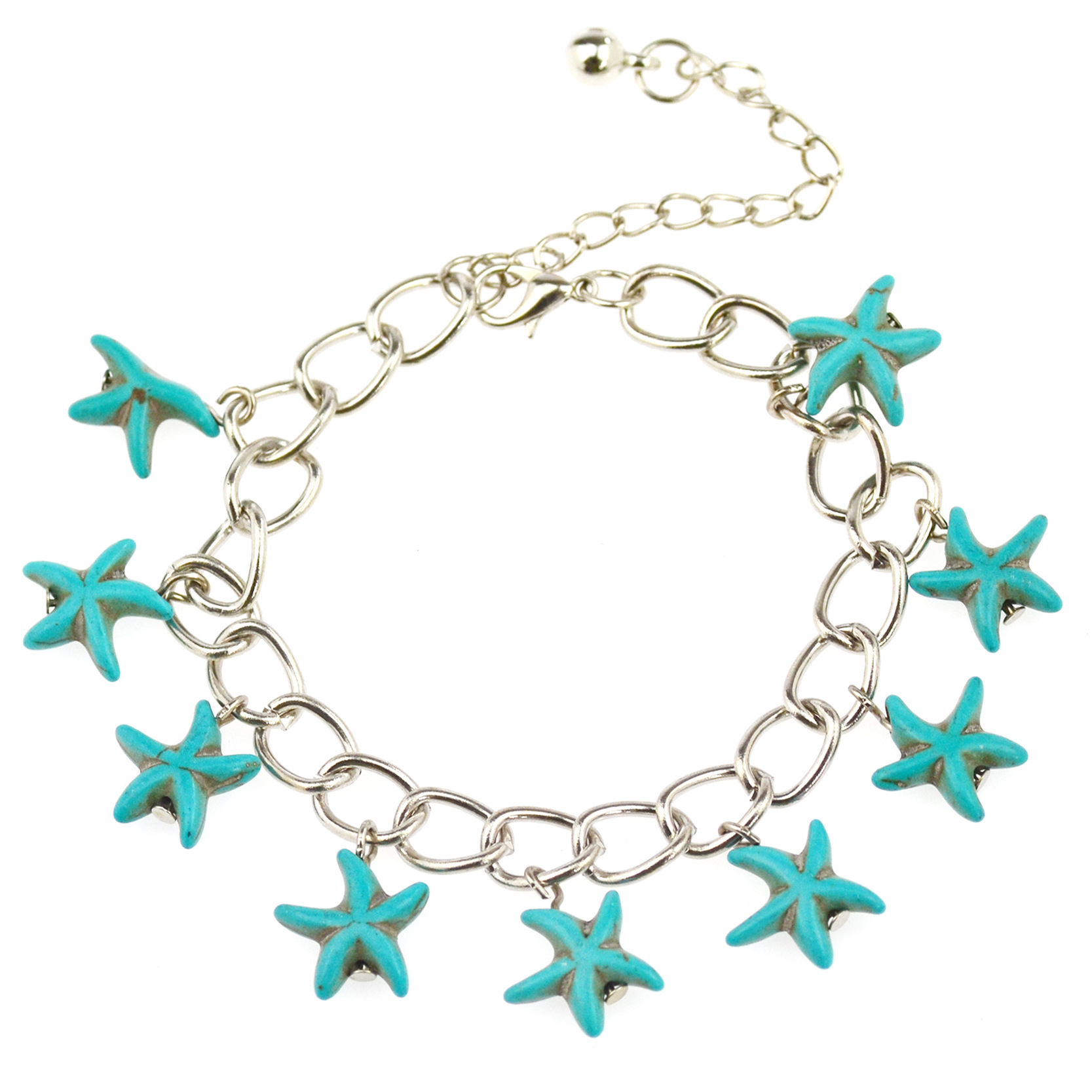 Speed sell ton source Europe and the United States jewelry wholesale Personality pentaram turquoise bracelets J1493 restorin anc(China (Mainland))