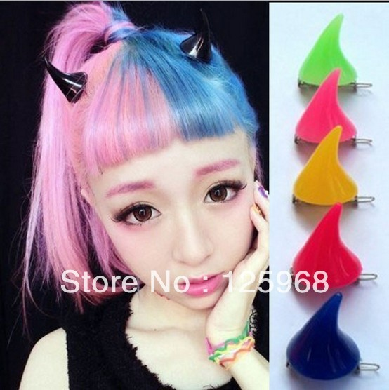 Free Shipping!2016 New Stylish Novelty Wholesale Halloween Gifts DEVIL Horns Hair Slides Clip Mutli Colors Hair Accessories