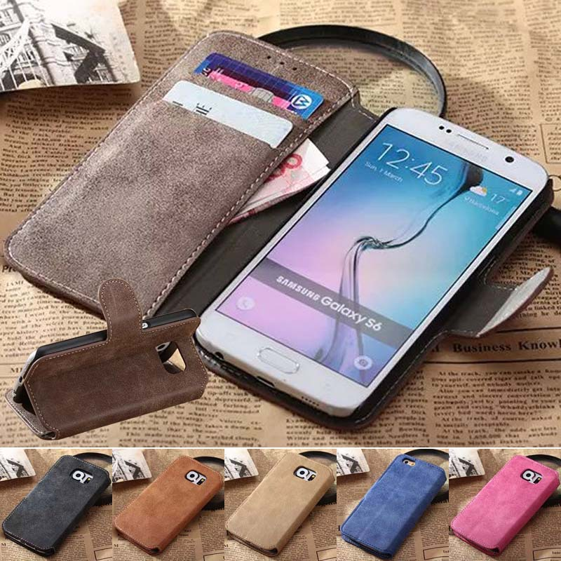 S6 Accessories Leather Cell Phone Cases For Samsung Galaxy S6 G9200 Luxury Stand Function Phone Bag Cover With Card Slot Latest(China (Mainland))