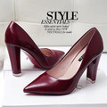 2016 New Women Pumps Sexy pointed Toe Gray red black High Heels Wedding Shoes Thick with