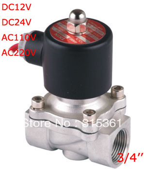 Free Shipping NEW 3 4 Stainless Steel Solenoid Valve VITON Water Air Oil N C 120