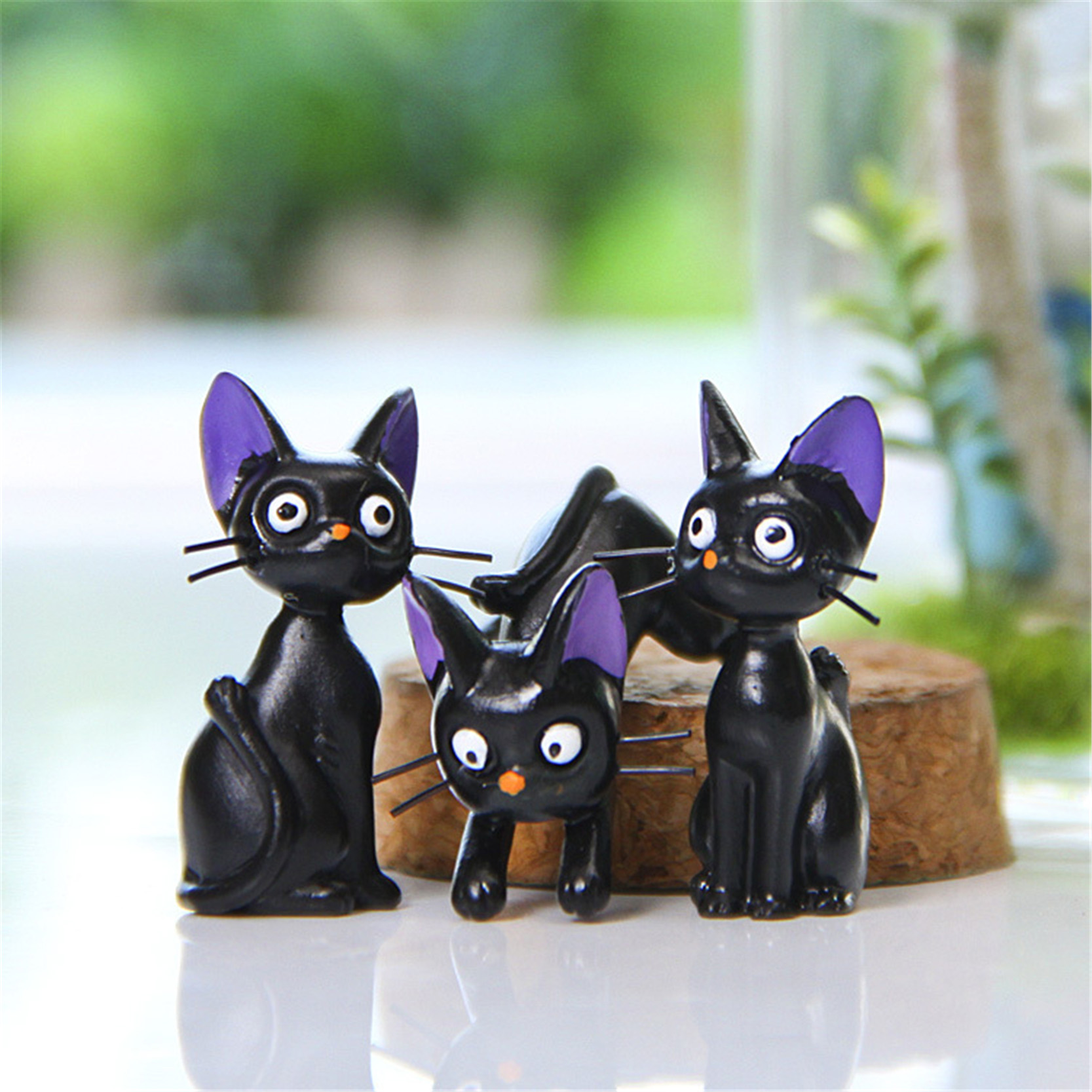 2016 Kawaii Miniature Toy Cats Black Resin Crafts Fairy Garden Decorations Figurines For Home Decor Micro Landscape(China (Mainland))