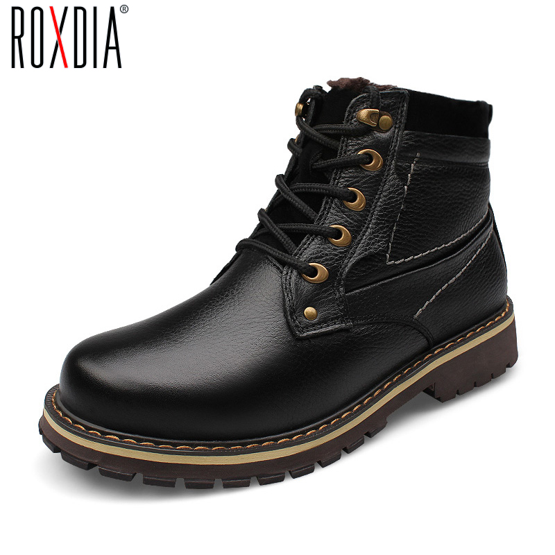 big size genuine leather boots winter shoes ankle