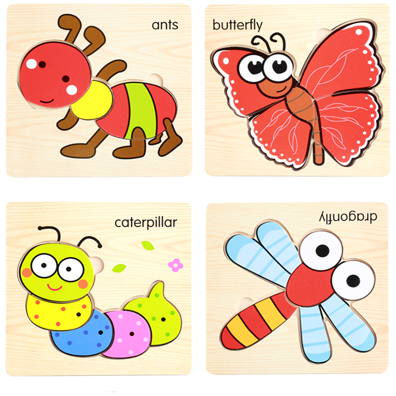 1 Pc Cute Cartoon Animal 3D Wooden Puzzles Intelligence Kids Educational Baby Gifts Brain Teaser Children Learning Jigsaw Toys(China (Mainland))