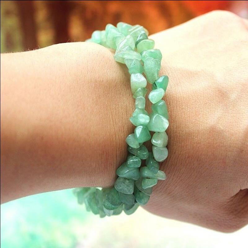 New Fashion Women Bracelets Green Jade Chips Stone Stretchy Steel Bracelet Bangle Free Shippiing(China (Mainland))