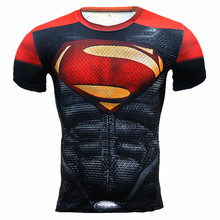 2016 Gym Compression Shirt Short Sleeve T Shirt Men Marvel Superhero Comics Superman Running Fitness Quick Dry Tights Clothing