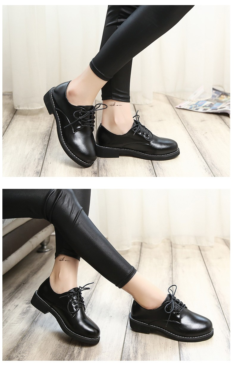 10 Female British style leather shoes 2016 autumn and winter women singel shoes wind flat round new school students female shoes